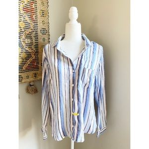 Anthropologie Cloth & Stone Striped Button Up Top